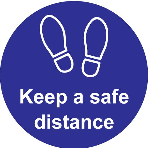 Keep A Safe Distance Floor Graphic; Self Adhesive Vinyl Laminated; Blue (200mm dia)