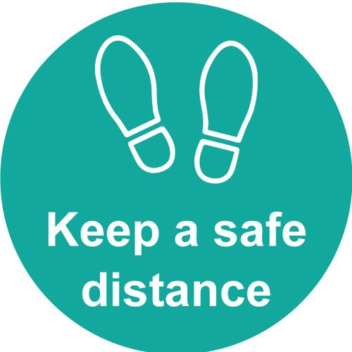 Keep A Safe Distance Floor Graphic; Self Adhesive Vinyl Laminated; Turquoise (200mm dia)