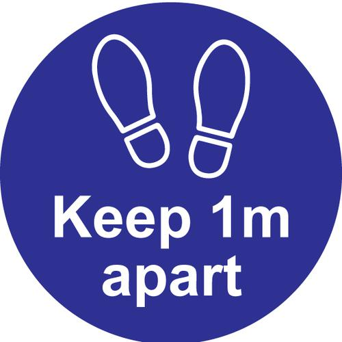 Keep 1m Apart Floor Graphic; Self Adhesive Vinyl Laminated; Blue (200mm dia)