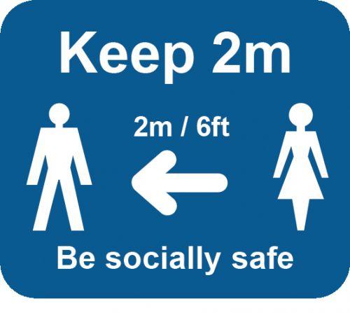 Blue Social Distancing Self Adhesive Sign - Keep 2m/6ft (190 x 166mm) 2pk