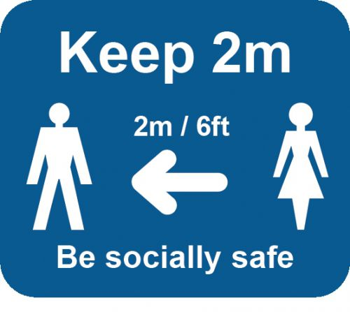 Blue Social Distancing Self Adhesive Sign - Keep 2m/6ft (190 x 166mm) 25pk