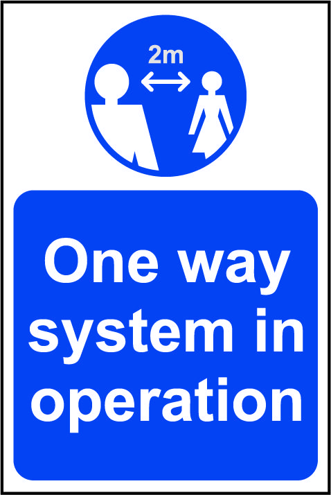 Lightweight and sturdy Correx A-Board (Blue) - One Way System In Operation