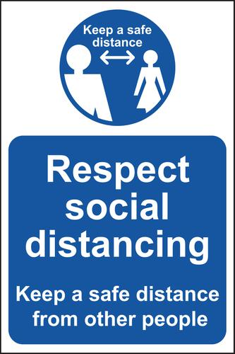 Respect Social Distancing Keep Safe Distance A-Board (White/Blue on Yellow)