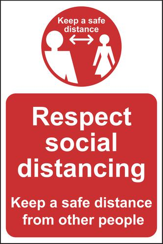 Respect Social Distancing Keep Safe Distance A-Board (White/Red on Yellow)