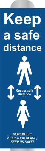 Keep 2m Apart (B) Post Bollard Sign; (800mm High For 100mm dia Post)