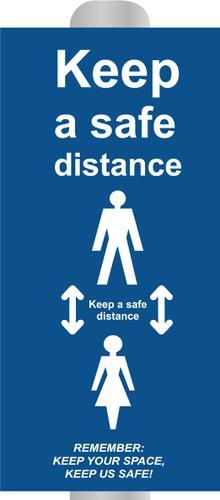 Keep 2m Apart (B) Post Bollard Sign; (800mm High For 200mm dia Post)