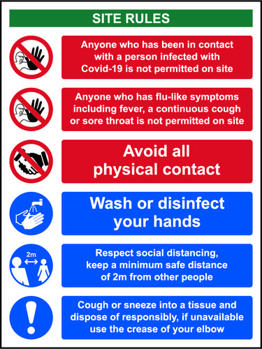 Social Distancing Rigid PVC Sign (300 x 400mm) - Covid19 Reception Safety Notice