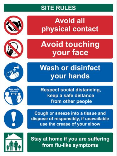 Site Safety Keep A Safe Distance Sign, Rigid 1mm PVC Board (300 x 400mm)