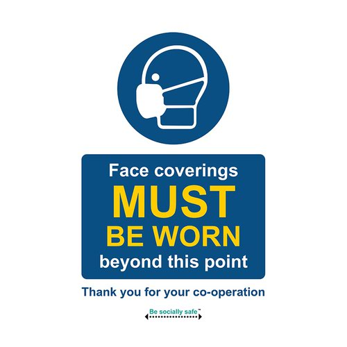 Safety sign - Face coverings must be worn past this point - SAV (200 x 300mm)