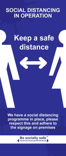 Social Distancing Keep A Safe Distance Pull Up Banner, Blue (850 x 2000mm)