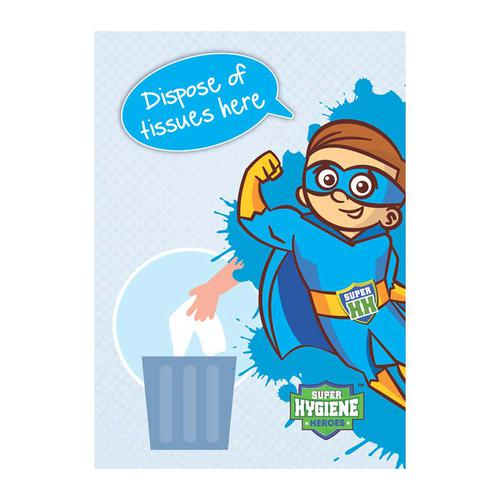 Super Hygiene Heroes Dispose of Tissues Here Self Adhesive Sign (210 x 297mm)