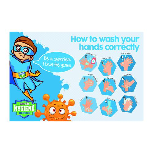 Super Hygiene Heroes How To Wash Your Hands Correctly Poster; Rigid 1mm PVC Board (400 x 600mm)
