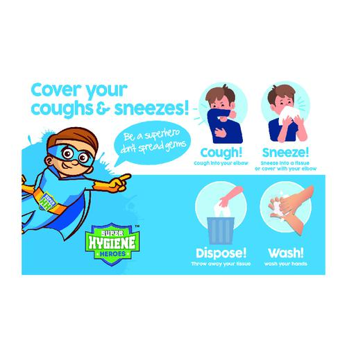 Super Hygiene Heroes Cover Coughs and Sneezes Poster; Rigid 1mm PVC Board (400 x 600mm)