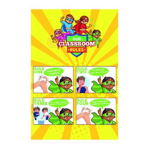 Super Hygiene Heroes Classroom Rules Poster; Rigid 1mm PVC Board (600 x 400mm)