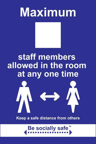 Maximum Staff Keep Safe Distance Sign; Rigid 1mm PVC Board (200 x 300mm)