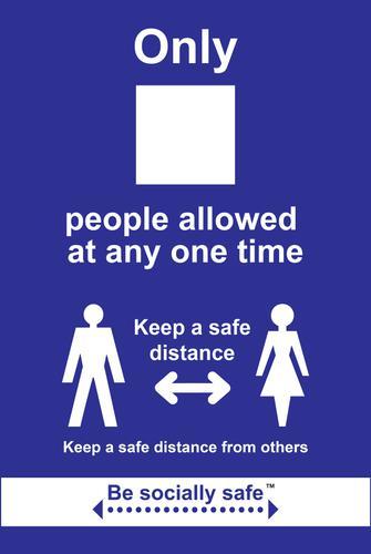 Maximum People Keep A Safe Distance Sign; Rigid 1mm PVC Board (200 x 300mm)
