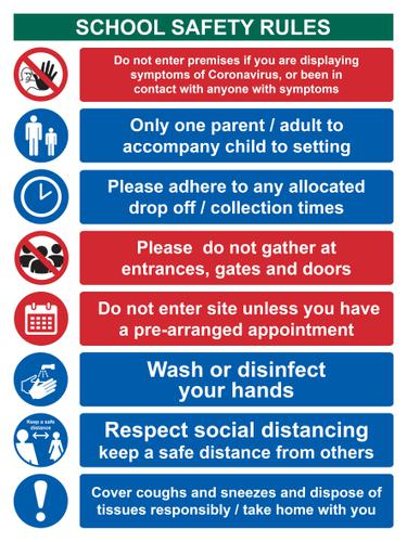 School Safety Rules Keep Safe Distance Sign; Rigid 1mm PVC Board (300 x 400mm)