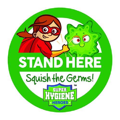Super Hygiene Heroes Stand Here Self Adhesive Floor Graphic in Purple (200mm dia.)