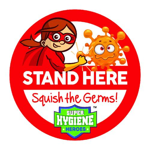 Super Hygiene Heroes Stand Here Self Adhesive Floor Graphic in Red (400mm dia.)