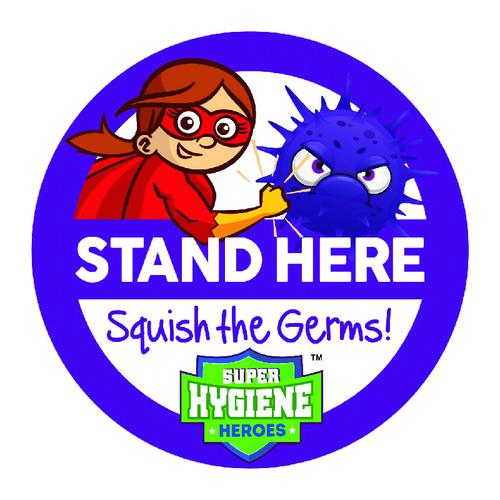 Super Hygiene Heroes Stand Here Self Adhesive Floor Graphic in Green (400mm dia.)