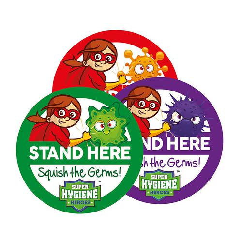 Super Hygiene Heroes Stand Here Self Adhesive Floor Graphics; 3pk (400mm dia.)