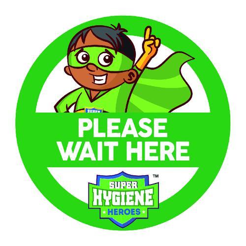 Super Hygiene Heroes Wait Here Self Adhesive Floor Graphic in Green (400mm dia.)