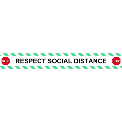 Be Socially Safe Respect Social Distance Self Adhesive Floor and Stair Graphic (800 x 100mm)