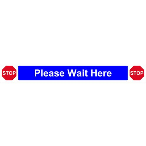 Be Socially Safe Please Wait Here Self Adhesive Floor Graphic (800 x 100mm)