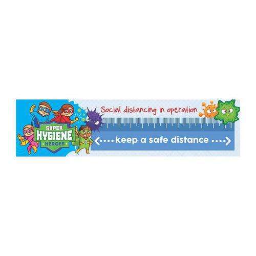 Super Hygiene Heroes Keep A Safe Distance Banner (2000 x 500mm)
