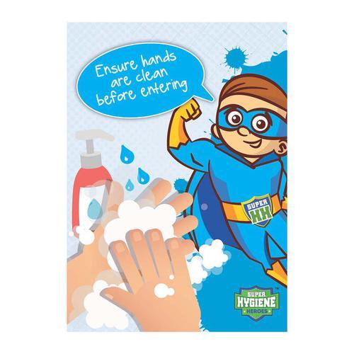 Super Hygiene Heroes Ensure Hands Clean Before Entering A Board Sign