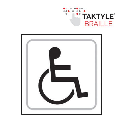 Disabled Graphic' Sign; Self Adhesive Taktyle; White  (150mm x 150mm)