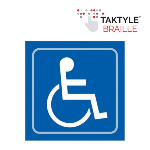 Disabled Graphic' Sign; Self Adhesive Taktyle; Blue (150mm x 150mm)