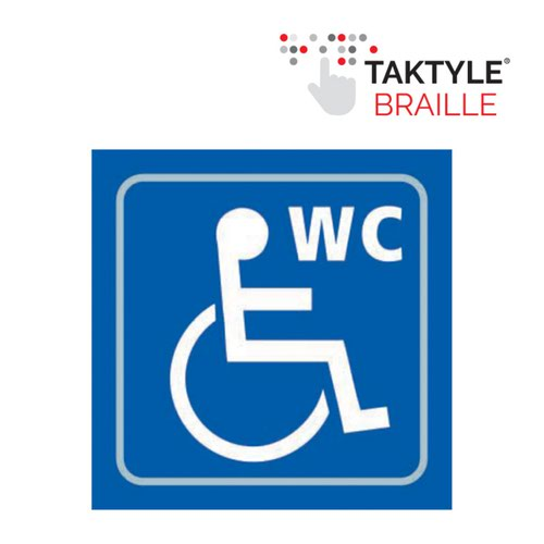 Disabled WC Graphic'  Sign; Self Adhesive Taktyle; Blue (150mm x 150mm)
