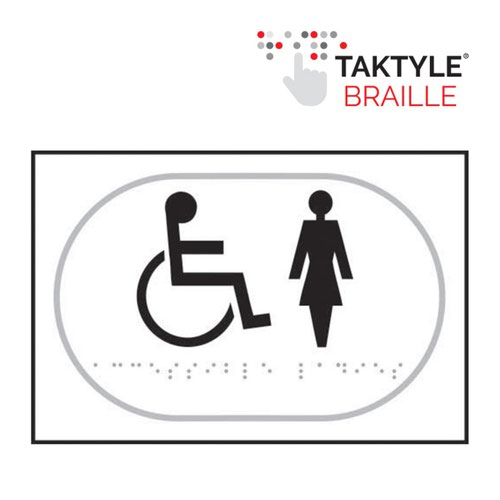 Disabled Ladies Graphic'  Sign; Self Adhesive Taktyle; White (225mm x 150mm)