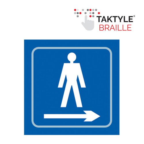 Gentlemen Graphic Arrow Right'  Sign; Self Adhesive Taktyle ; Blue (150mm x 150mm)