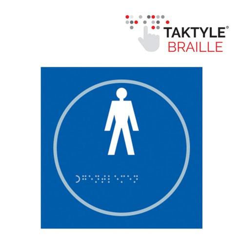 Gentlemen Graphic'  Sign; Self Adhesive Taktyle ; Blue (150mm x 150mm)
