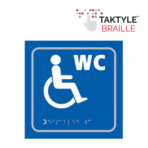 Disabled WC Symbol'  Sign; Self Adhesive Taktyle; Blue (150mm x 150mm)