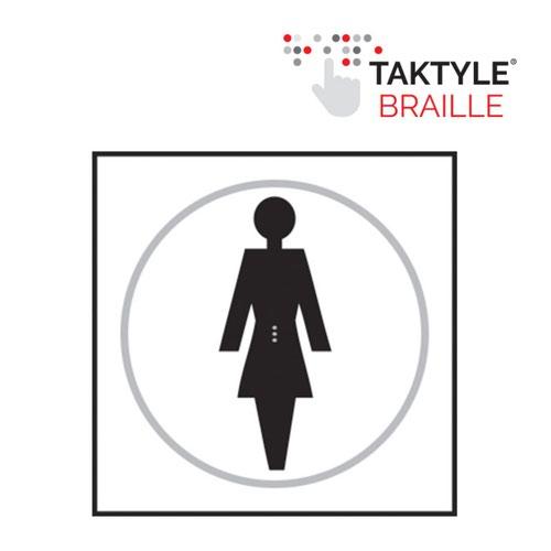 Ladies Graphic'  Sign; Self Adhesive Taktyle ; White  (150mm x 150mm)