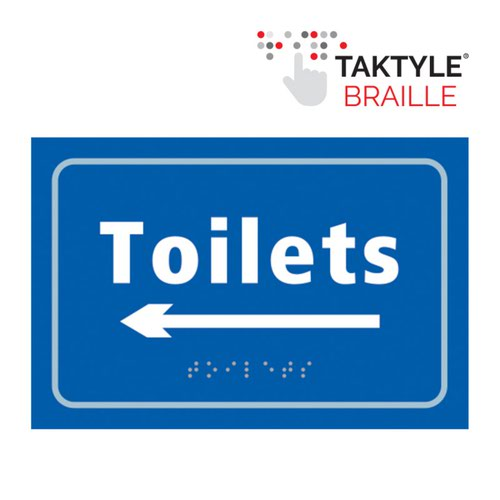 Toilets Arrow Left'  Sign; Self Adhesive Taktyle; Blue (225mm x 150mm)
