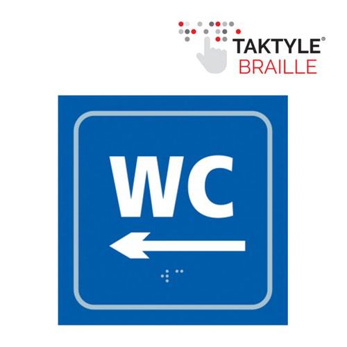WC Arrow Left'  Sign; Self Adhesive Taktyle; Blue (150mm x 150mm)