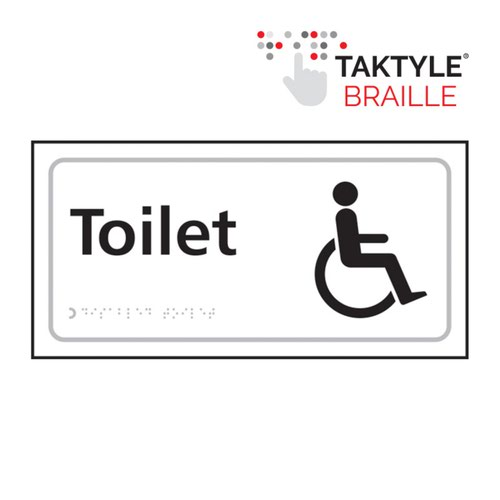 Toilet (With Disabled Symbol)'  Sign; Self Adhesive Taktyle; White  (300mm x 150mm)