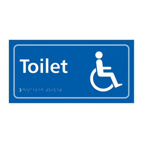 Toilet (With Disabled Symbol)'  Sign; Self Adhesive Taktyle; Blue (300mm x 150mm)