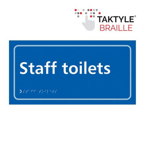 Staff Toilets'  Sign; Self Adhesive Taktyle; Blue (300mm x 150mm)