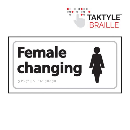 Female Changing'  Sign; Self Adhesive Taktyle; White  (300mm x 150mm)