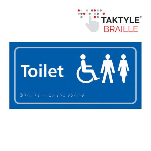 Toilet (Disabled / Gents / Ladies)'  Sign; Self Adhesive Taktyle; Blue (300mm x 150mm)
