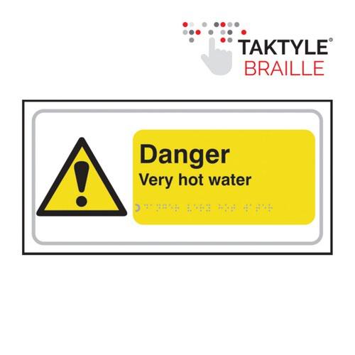Danger Very Hot Water' Sign; Taktyle; (300mm x 150mm)