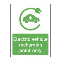 'Electric Vehicle Recharging Point Only' Sign -  Aluminium Composite Vertical Panel (300mm x 400mm)