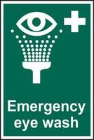 Self adhesive semi-rigid PVC Emergency Eye Wash sign (200 x 300mm). Easy to fix; peel off the backing and apply to a clean and dry surface.