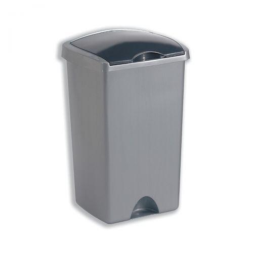 Addis Lift Up Lid Bin Plastic 50 Litres Metallic Silver Ref 015381