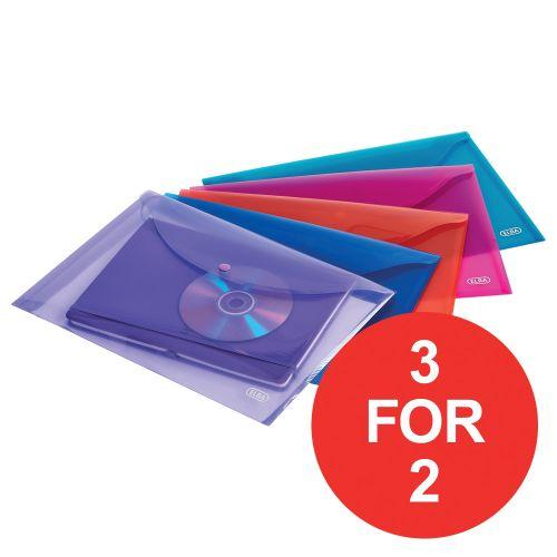 Elba Translucent Wallet PP Stud Fastner A4 Translucent Astd Ref 100201306 [Pack 5] [3 For 2] Jan-Dec 2020
